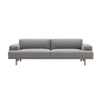 - Muuto Compose 3 Sitzer Sofa - grau/Stoff Vancouver 14/Gestell Eiche/LxBxH 240x94x69cm