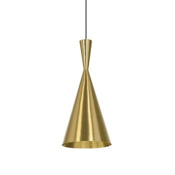 Tom Dixon - Beat Tall Brushed Pendelleuchte - messing/lackiert/Kabel schwarz