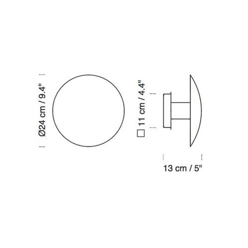 Santa + Cole - Disco LED Wandleuchte - Strichzeichnung