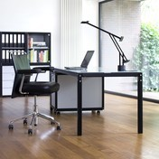 Flötotto - Flötotto Profilsystem Schreibtisch - schwarz/Platte Glas/satiniert/200x100cm