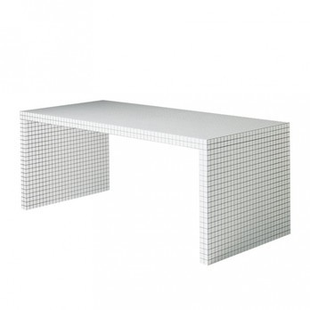 Zanotta - Quaderna Arbeitstisch - weiß kariert/Gestell aus Sperrholz/LxBxH 180x81x72cm