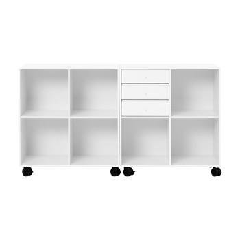 Montana - Flow Sideboard mit Rollen H:76,6cm - new white 101/lackiert/mit 3 Schubladen/76,6 x 139,2 x 38cm