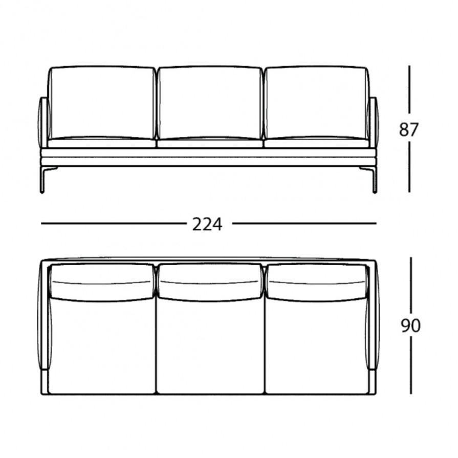 Zanotta William 3 Seater Sofa Line Drawing