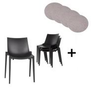 Magis - Zartan Basic Stuhl 4er Set mit Sitzauflagen