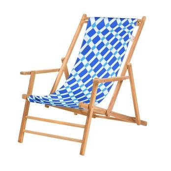 Jan Kurtz - Maxx Deckchair Liegestuhl - ambra blau/Bezug 100% Polyacryl/BxHxT 64x98x112cm/Gestell Teak massiv