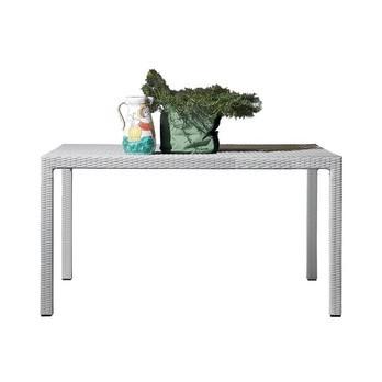Gervasoni - InOut 231 Polyrattan-Gartentisch quadratisch - weiß/Flechtwerk aus Kunststoff/Gestell aus Aluminium/140x140 cm