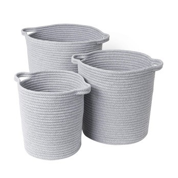Blomus - Boa Basket Set Of 3 - grey/1: H 28 cm, Ø 25 cm/ 2: H 32,5 cm, Ø 30 cm/3: H 36 cm, Ø 35 cm