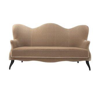 Gubi - Bonaparte Sofa - beige/Stoff Velluto di Cotone 208/BxHxT 220x88x77cm/Füße Buche schwarz