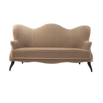 - Bonaparte Sofa - beige/Stoff Velluto di Cotone 208/BxHxT 220x88x77cm/Füße Buche schwarz