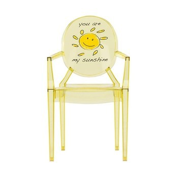 Kartell - Lou Lou Ghost Kinderstuhl mit Motiv - gelb/Motiv Sonne/LxBxH 40x37x63cm