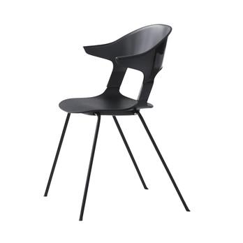 Fritz Hansen - Pair Chair BH30 Armlehnstuhl - schwarz/Sitzfläche Eiche schwarz/Gestell Chrom schwarz/58x69x52cm