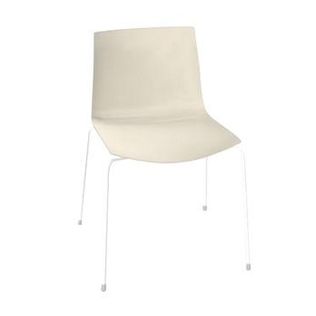 Arper - Catifa 46 0251 Stuhl einfarbig Gestell weiß - elfenbein/Außenschale glänzend/innen matt/Gestell weiß matt V12/neue Farbe