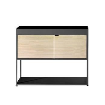 HAY - New Order Regal mit Tür 100x79.5cm - dunkelgrau charcoal/Esche/mit 1 Holztür