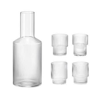 ferm LIVING - Ripple Wasser-Glas 4er Set mit Karaffe