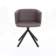 la palma - Cut Armchair Leather With Wood Frame Black