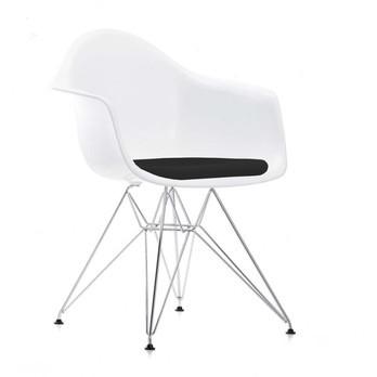 Vitra - Eames Plastic Armchair DAR gepolstert H43cm - weiß/nero schwarz/Sitzpolster Hopsak/Eiffelturmgestell chrom/Neue Höhe
