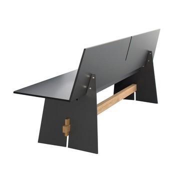 Conmoto - Tension Outdoor Bank mit Rückenlehne - anthrazit/schwarze Kante/Traverse teak/L: 220cm