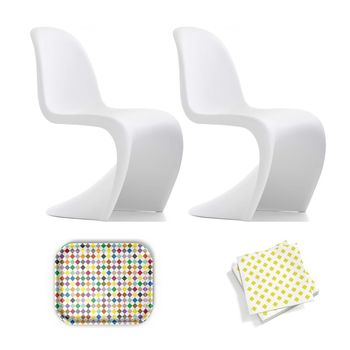 Vitra - Aktionsset Panton Chair Stuhl - weiß matt/Classic Diamonds Multicolor Tablett/Papierservietten gelb/Tablett und Papierservietten geschenkt!