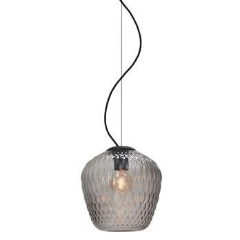 &tradition - Blown SW3 Pendelleuchte - silber/Glas transparent/Ø 28cm/ H 28cm/mit schwarzem Kabel
