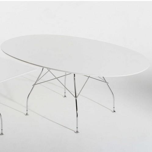 Kartell - Glossy Tisch Oval Gestell silber