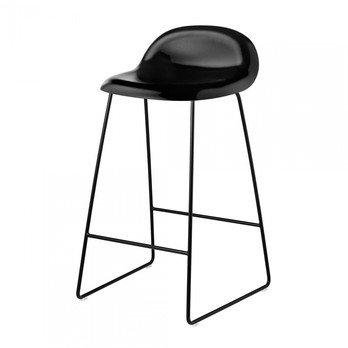 Gubi - 3D Counter Stool Kufengestell in Schwarz - schwarz/Sitzfläche Buche/BxHxT 44x78x45cm/Gestell schwarz