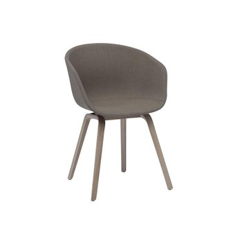 HAY - About a Chair 23 Armlehnstuhl gepolstert - braun/Stoff Remix 233/Gestell Eiche geseift/mit Kunststoffgleitern