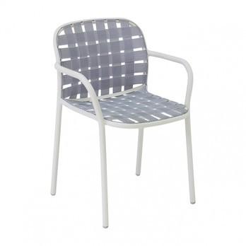 emu - Yard Gartenarmlehnstuhl - weiß grau/weiß/Sitz elastische Gurte weiß grau/BxHxT 58x81x55cm/Gestell aluminium weiß