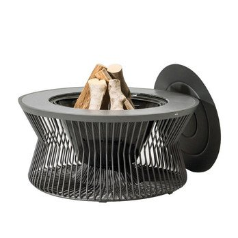 Kettal - ZigZag Feuerstelle - schwarz/H 43cm, Ø 90cm/Gestell aluminium 726 mangan