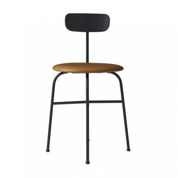 Menu - Afteroom Dining Chair Stuhl 4 gepolstert - schwarz/cognac/pulverbeschichtet/BxHxT 45,5x76,5x51cm/Sitzpolster Sørensen Leder