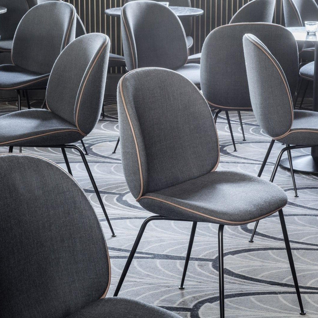 beetle chair with fabric black base gubi. Black Bedroom Furniture Sets. Home Design Ideas