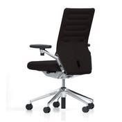 Vitra - AC 4 Citterio Bürostuhl mit 3D-Armlehnen - nero schwarz/Stoff Plano 66/Gestell aluminium poliert/mit weichen Rollen