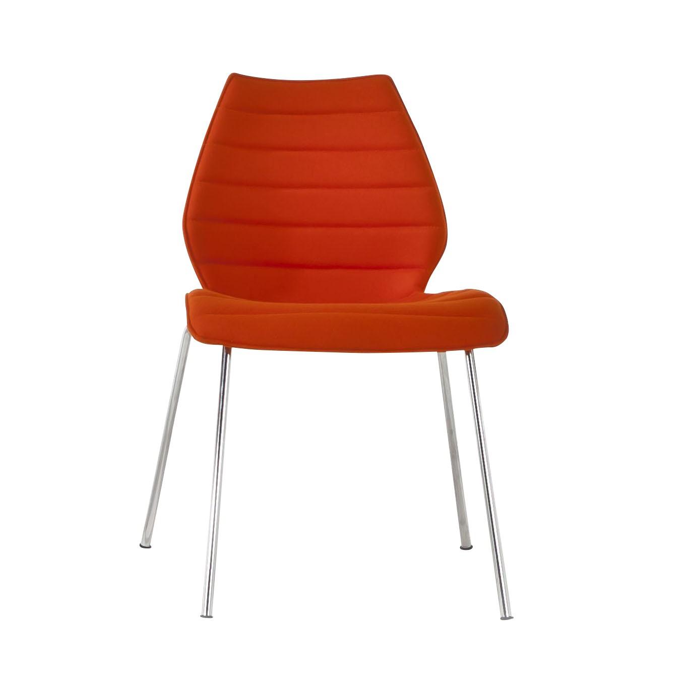 Kartell maui soft stuhl orange stoff trevira gestell verchromter stahl