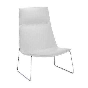 Arper - Catifa 70 2011 Lounge Sessel mit Kufengestell - weiß/Weichleder Pelle Fiore 001/Gestell verchromt