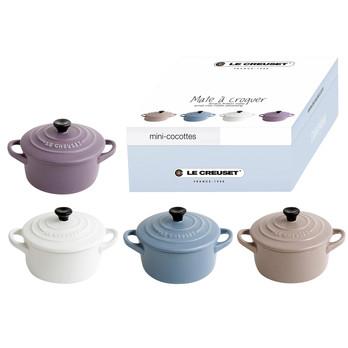 Le Creuset - Le Creuset Mini-Cocotte Geschenkset  - amethyst/mineralblau/sisal/cocos/matt/H 5cm/ Ø 10cm/4er Set Matt Kollektion