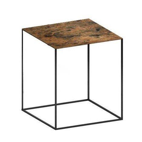 Zeus   Slim Irony Art Side Table 41x41x46cm   Rust Coloured/artistic Rust  Treatment