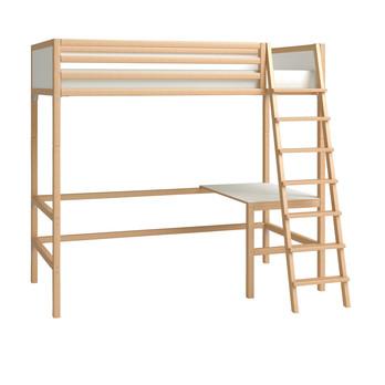 Flötotto - Flötotto Profilsystem Hochbett - buche/Flächen weiß/melaminharzbeschichtet/mit Lattenrost ohne Matratze/inkl. Tisch/Leiter rechts