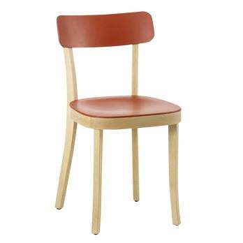 Vitra - Basel Chair Stuhl  - buche natur/Sitz und Rückenlehne backstein rot