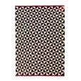 - Mélange Pattern 2 Kilim Woll-Teppich - schwarz-weiß- rot/170x240cm