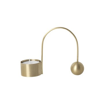 ferm LIVING - ferm LIVING Balance Teelichthalter - messing/matt poliert/LxBxH 10.6x2.6x9cm
