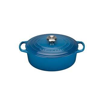 Le Creuset - Signature Bräter oval 31cm - blau marseille/Höhe ohne Deckel: 12cm/für alle Herdarten geeignet