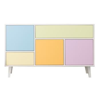 ADWOOD - Colour Kommode - weiß/pastell/3 Staufächer, 2 Schubladen/128x45x79cm
