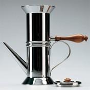 Alessi - Neapolitanische Espressomaschine - silber/Stahl/Griff braun/6 Tassen