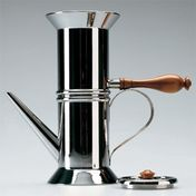 Alessi - Neapolitan Espresso Maker - silver/steel/handle brown/6 cups