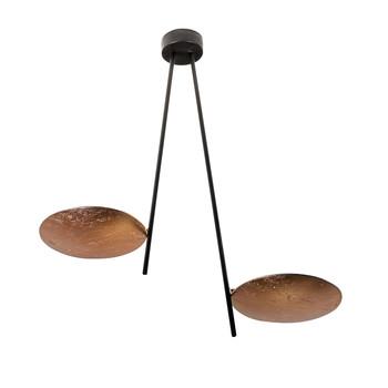Catellani & Smith - Lederam C2 Deckenleuchte - Disc kupfer/Stab schwarz/Gestell schwarz/Lichtfarbe warm weiß/H: 43cm