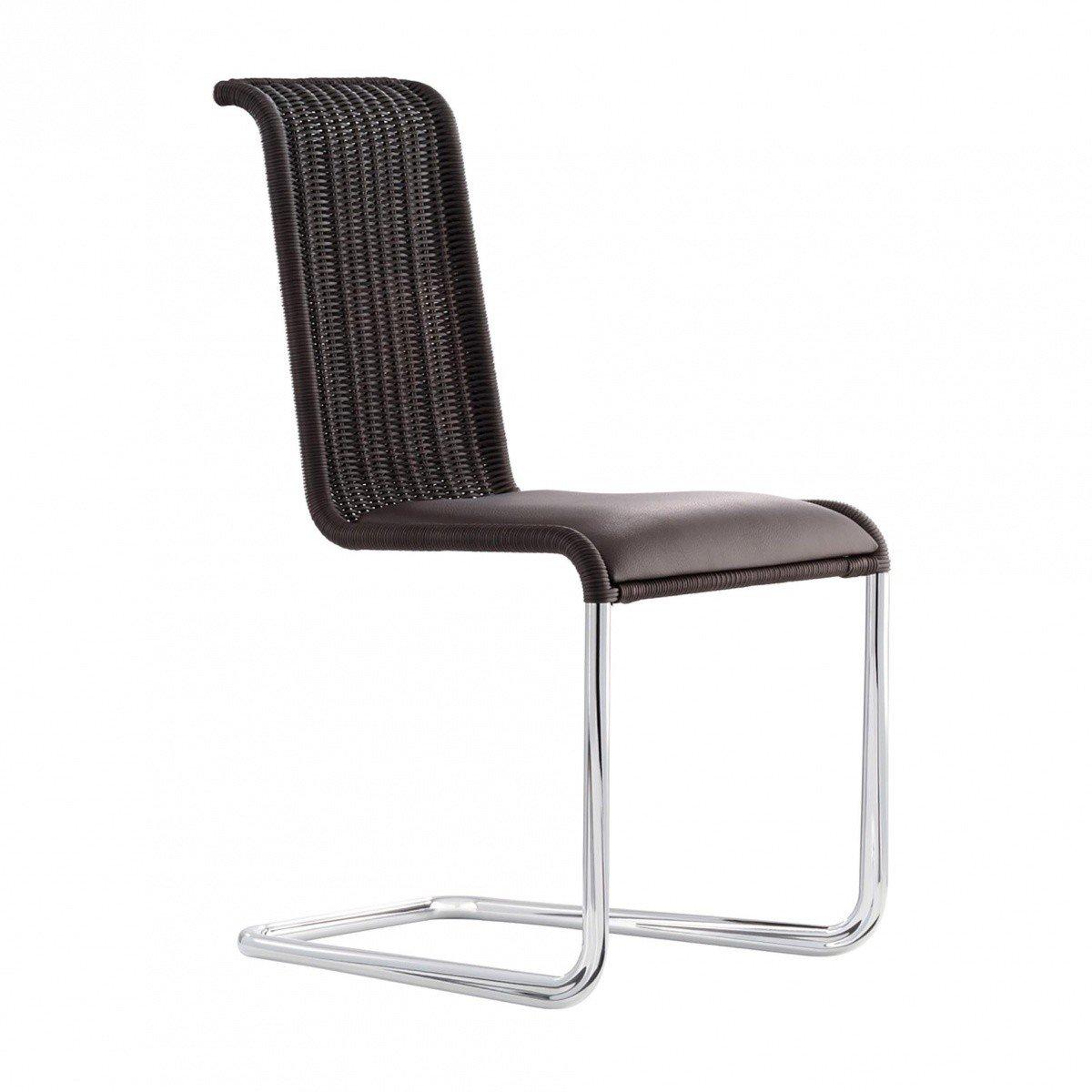 TECTA   B20i Freischwinger Stuhl Mit Sitzpolster    Schwarzbraun/TECTA Geflecht/Polster: