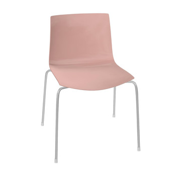 Arper - Catifa 46 0251 Stuhl einfarbig - rosé/Außenschale glänzend/innen matt/Gestell verchromt/neue Farbe