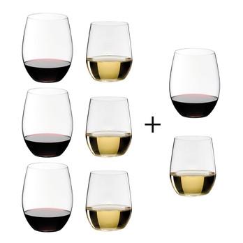 Riedel - O Wine Weinglas Geschenksets 6+2 - transparent/H 12,1cm 600ccm/ H 9,6cm, 320ccm/2 Weingläser Gratis