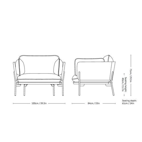 &tradition - Cloud LN1 Sessel - Strichzeichnung