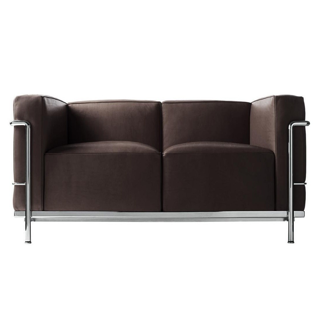 Cina Le Corbusier Lc2 Sofa Radica Dark Brown Leather Lcx 13x416