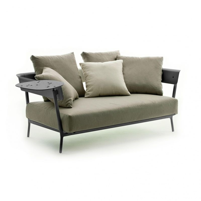 Weishäupl   Aikana Garden Sofa Two Seater   Taupe/ 151x87cm/frame Grey  Metallic/